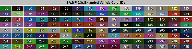 gta san andreas vehicle color ids images